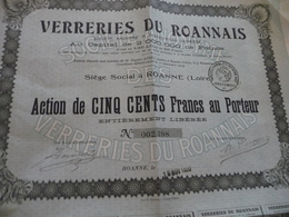 Action 500 Francs Au Porteur  Verreries Du Roannais Roanne - Industrie