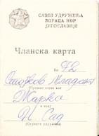WWII WARRIORS MEMBER CARD YUGOSLAVIA - Historical Documents