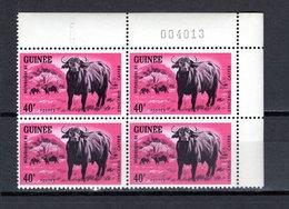GUINEE N° 204 BLOC DE QUATRE  NEUF SANS CHARNIERE COTE 4.00€  ANIMAUX BUFFLE - Guinée (1958-...)