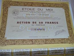 Action 5 0 Francs Au Porteur  Etoile Du Midi Carcassonne Aude - Agriculture