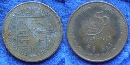 "NEPAL - 1 Rupee VS2052 1995AD ""UN 50th Anniversary"" KM# 1092 - Edelweiss Coins - Népal"