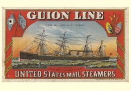 Navigation Postcard Guion Line United States Mail Steamers 1883  - Reproduction - Pubblicitari