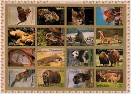 AJMAN   1972      ANIMALS   SHEET    X  16     14,5X20,5   IMPERFORATED  MNH** - Ajman