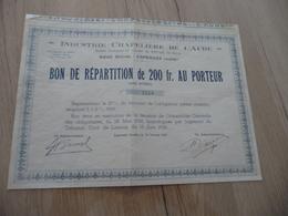 Action Bon Répartition Au Porteur Industrie Chapelière De L'Aude Espéraza - Industrie