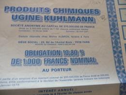Action Obligation 1 000 Francs Produits Chimiques Ugine Kuhlmann Péchiney 1977 - Industrie