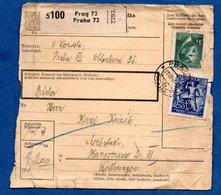 Colis Postal  -   Départ  Praha 73  -- 31/8/1943 -  Bords Abimés - Bohême & Moravie