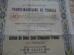 Action 250 Francs Compagnie Franco Marocaine De Fédhala Mines ? - Afrique