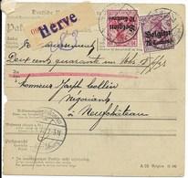 OC Nr 3 En 6 En Verso 14 Op Pakketkaart Van 30.9.17 Van Herve  Naar Neufchâteau - Guerre 14-18