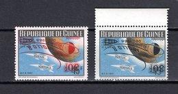 GUINEE N° 380 + 381  NEUFS SANS CHARNIERE APOLLO VIII ESPACE VARIETE SURCHARGES RENVERSEES COTE ? € - Guinée (1958-...)