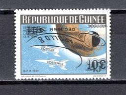 GUINEE N° 381  NEUF SANS CHARNIERE APOLLO VIII ESPACE VARIETE SURCHARGE RENVERSEE COTE ? € - Guinée (1958-...)