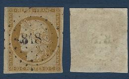 1849 - 1850 Céres N°1 10c  Obl PC 818 Filet Frolé Rasé - 1849-1850 Cérès