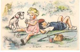 """CPA : Illustrateur Germaine Bouret , """" Il Dort ..... """" Couple D'enfants Et Chien - Bouret, Germaine"""