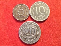 Münzen WW1 Geplantes Königreich Polen 3 Stücke 5 Fenigow 1918, 10 Fenigow 1917, 20 Fenigow 1918 - [ 2] 1871-1918: Deutsches Kaiserreich
