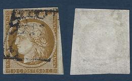 1849 - 1850 Céres N°1 10c Bistre Brun  Nuance Caractéristique Filet Touché . - 1849-1850 Ceres