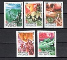 GUINEE N° 633 à 637   NON DENTELES  NEUFS SANS CHARNIERE COTE ? €  JULES VERNE  ANIMAUX ESPACE - Guinée (1958-...)