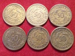 Münzen Weimarer Republik 6 Stücke 50 Rentenpfennig 1924 A, F, Jaeger 310 - [ 3] 1918-1933: Weimarer Republik