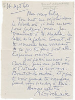 Carte Lettre Autographe Signée Marcel GROMAIRE, Peintre Et Illustrateur Français Adressée à Son Ami Florent Fels - Autographes