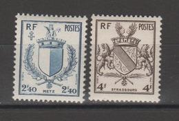 FRANCE / 1945 / Y&T N° 734/735 ** : Blasons De Metz & Strasbourg - Gomme D'origine Intacte - France