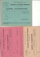 3 Cartes D'identité Pour Familles Nombreuses,une Assistance 1913 Et 2 Encouragement National,1923 - Documents