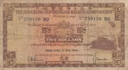 Hong Kong #181c, 5 Dollars 1 May 1964 Banknote Currency - Hong Kong