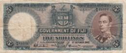 Fiji #37c 5 Shillings1940 Banknote Currency - Fiji