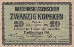 Germany #R120 20 Kopeks1916 Darlehnskassenschein Banknote Currency - [ 9] Duitse Bezette Gebieden