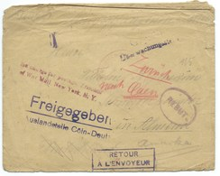 ENVELOPPE / FREIGEGEBEN / RETOUR A L'ENVOYEUR / REBUT POUR CAEN 1918 / CENSURE / NEW YORK - Germany