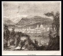 GRAVURE DE 1844 --  VUE DE FLORENCE ITALIE   3Q154 - Vieux Papiers
