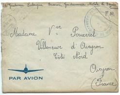 ENVELOPPE AVEC CORRESPONDANCE / TUNIS RP TUNISIE 1957 / 11° LEGION DE GENDARMERIE MOBILE POUR VILLENEUVE D'AVEYRON - Tunisie (1956-...)