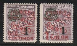 COSTA RICA -  P.A N°4+5 * (1930)  Timbre De Service Avec Surcharge Rouge - Costa Rica