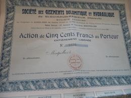 Action 500 Francs Société Des Gisements Dolomitique Et Hydraulique Saint Guiraud Rabieux Hérault Montpellier - Afrique