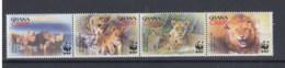 Ghana (BBK) Michel Cat.No. Mnh/** 3701/3704 Wwf Lion - Ghana (1957-...)