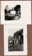 2 Photos Originales Motocyclisme Et Triporteur Peugeot 57 TM & Sa Caisse De Bois à L'avant Vers 1950 - Cyclisme