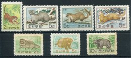 1962- KOREA -FAUNA-ANIMALS  - 7 VAL. - M.N.H. - Korea, North