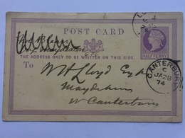 GB - Victoria Pre-paid Postcard 1874 To Canterbury - `The Peninsular And Oriental Steam Navigation Company` - Lettres & Documents