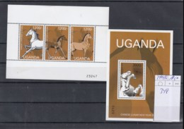Uganda (BBK) Michel Cat.No. Mnh/** 2444/2446 + Sheet 348 Horse - Ouganda (1962-...)