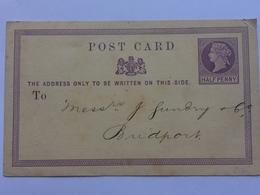 GB - Victoria Pre-paid Postcard 1873 Birmingham To Bridport - `Rabone Brothers & Co.` - 1840-1901 (Victoria)