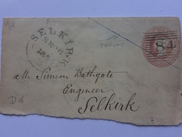 GB - Victoria Pre-paid Front Of Cover Rose Pink 1850`s With Silk Thread And Selkirk Postmark - 1840-1901 (Victoria)