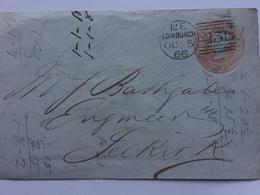 GB - Victoria Pre-paid Part Cover Rose Pink 1866 Edinburgh Duplex To Selkirk - Cartas