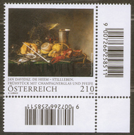 2018 Austria Österreich Art:Painting. Baroque Splendour In Abundance.Jan Davidsz De Heem 1v-corner Mi 3382 MNH ** - Künste