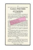 D 454. LAMBERT PEETERS  Echtg. E. Bijnens - Landmeter - °ZUTENDAAL 1883 En Aldaar + 1939 - Imágenes Religiosas