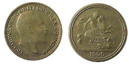 04831 GETTONE JETON TOKEN EDWARDUS VII D.G. BRITT OMN REX F.D. IND. IMP 1909 - United Kingdom