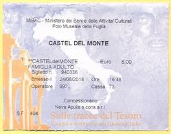 CASTEL DEL MONTE - MUSEO  - Sulle Tracce Del Tesoro - Biglietto D'Ingresso Adulto - Tickets D'entrée