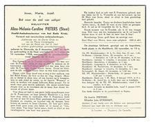 D 457. ALINE PIETERS (Staar) - Hoofd-Ambulancierster Rode Kruis - °DIKSMUIDE 1887 / +ST-TRUIDEN 1958 - Images Religieuses
