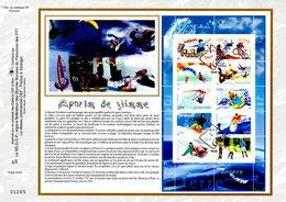 """"""" SPORTS DE GLISSE """" Sur Feuillet CEF 1er Jour N°té En Soie De 2004. N° 1733s. N°YT BF 76 Parfait état. - Briefmarken"""