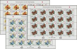 Finlande 1990 Y&T 1076/8 Michel 1110/2. Feuilles De 20. Croix-Rouge, Papillons - Papillons