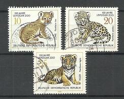 Germany DDR 1978 Michel 2322 - 2324 ZOO Leipzig Lion Leopard Tiger O - Félins