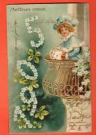 EBH-31  Meilleurs Voeux 1905, Fillette Sur Un Balcon . Précurseur. Circulé 1904 - Nouvel An