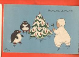 EBH-37  Bonne Année. Pingouin, Arbre De Noël Et Enfant Avec Gui .  Circulé - Nouvel An