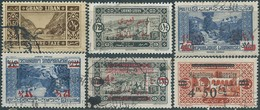 Libano- Liban - LEBANON Republic, 5 VALUES WITH OVERPRINTED + Revenue Stamps TAX ,used - Lebanon